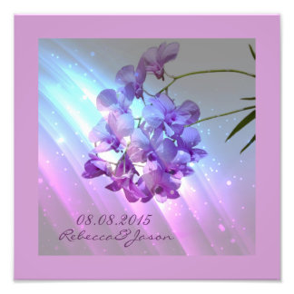 modern floral lilac purple orchid wedding photo print