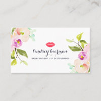 Modern Floral Lip Product Distributor Business Card