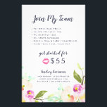 "Modern Floral Lip Product Distributor Promotional Flyer<br><div class=""desc"">Promote your lip color business with this colorful and eyecatching double-sided flyer that outlines how to join your team and the benefits of hosting a party.</div>"