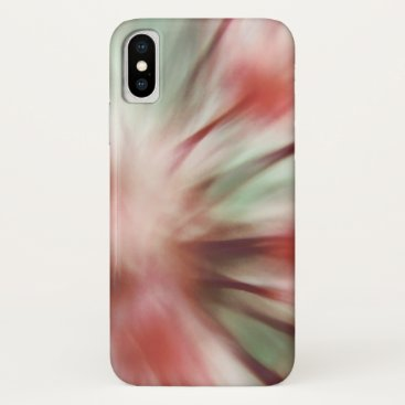 Modern Floral Macro Abstract Coral Pink Mint Green iPhone XS Case
