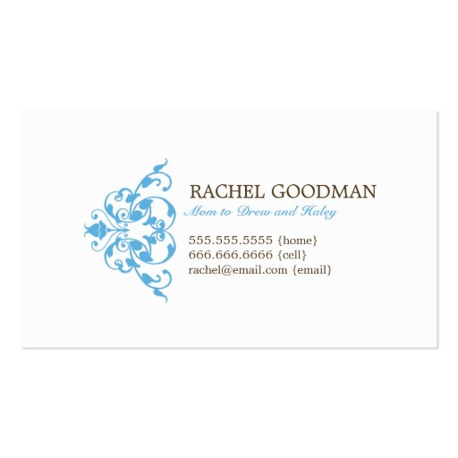 Modern Floral Mommy Card / Personal Calling Card Business Card Templates