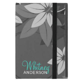 Modern Floral Monogram Folio Case For iPad Mini