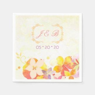 Modern Floral Monogrammed Wedding Napkins Paper Napkins