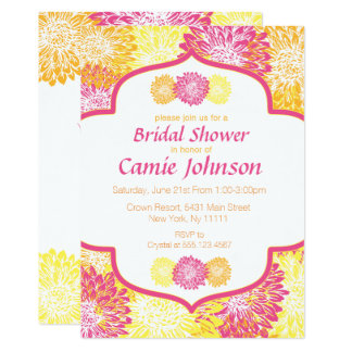 Modern Floral, Mums Bridal Shower Invitations