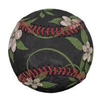 Modern Floral on Black Baseball