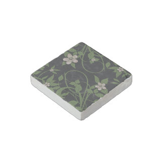 Modern Floral on Black Stone Magnet