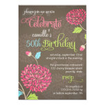 Modern Floral Orange & Pink Fancy Birthday Party Announcements