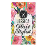 Modern Floral Painting Hair Stylist Appointment Business Card