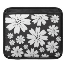 Modern Floral Pattern Black And White iPad Sleeve