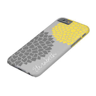 Modern Floral pattern - black gray yellow Barely There iPhone 6 Case
