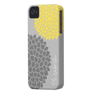 Modern Floral pattern - black gray yellow iPhone 4 Cases
