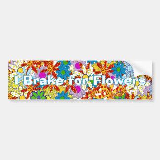 Modern Floral Pattern Bright Colors Car Bumper Sticker