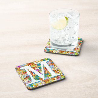 Modern Floral Pattern Bright Colors Coasters