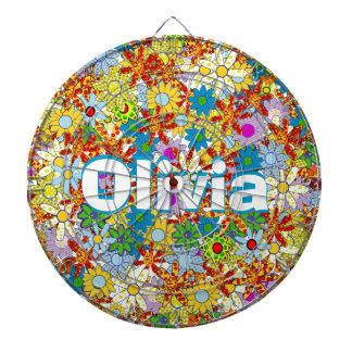 Modern Floral Pattern Bright Colors Dart Board