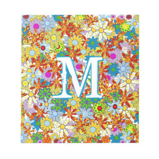 Modern Floral Pattern Bright Colors Notepad