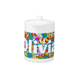 Modern Floral Pattern Bright Colors Teapot