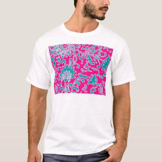 Modern Floral Pattern Gift Pink Blue White T-Shirt