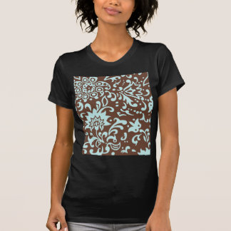 Modern Floral Pattern Gift Retro Baby Blue Brown T-Shirt