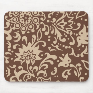Modern Floral Pattern Gift Retro Beige Brown Mouse Pads