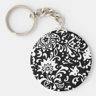 Modern Floral Pattern Gifts Black White Basic Round Button Keychain