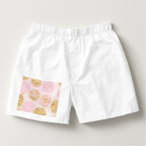 Modern floral pattern, gold,pink,white,chic,beauti boxers