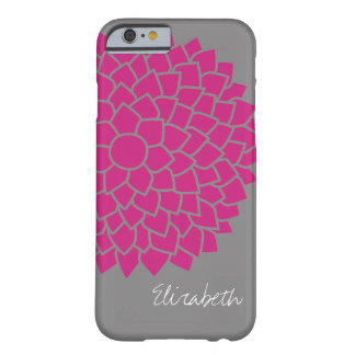 Modern Floral pattern - gray and pink Barely There iPhone 6 Case