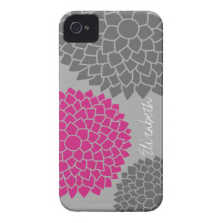 Modern Floral pattern - pink gray iPhone 4 Case