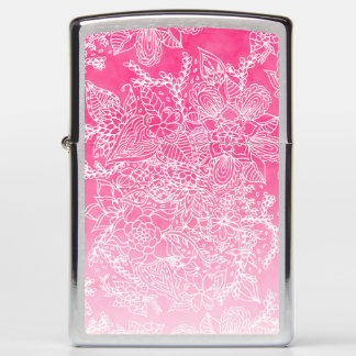 Modern floral pattern pink ombre watercolor zippo lighter