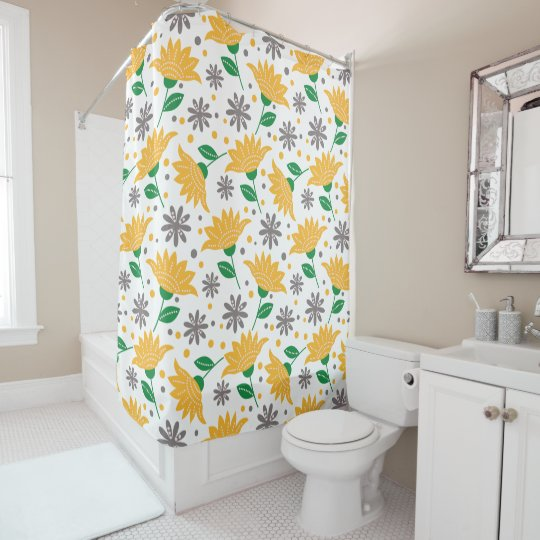 Yellow And Gray Flowers Shower
