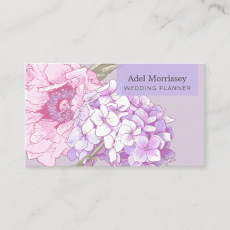 Modern Floral Peony Flower Business Card