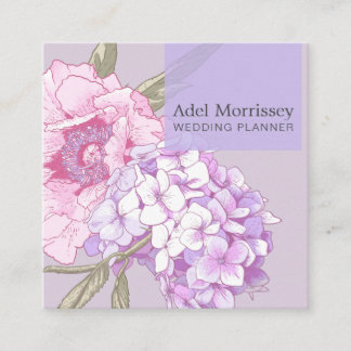Modern Floral Peony Flower Square Business Card