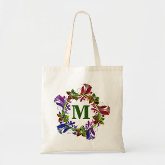 Modern Floral Personalized Monogram Tote Bag