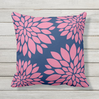 Modern Floral Pillow | Pink and Navy