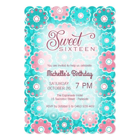 Modern floral pink and aqua sweet 16 (sixteen) invitation
