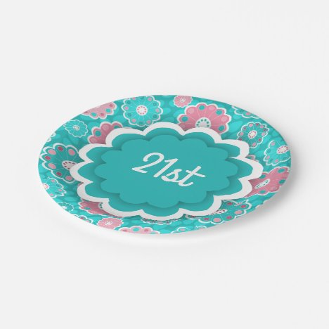 Modern floral pink and turquoise paper plate