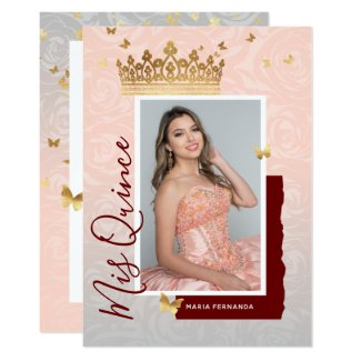 Modern Floral Pink Gold Elegant Photo Quinceanera Invitation