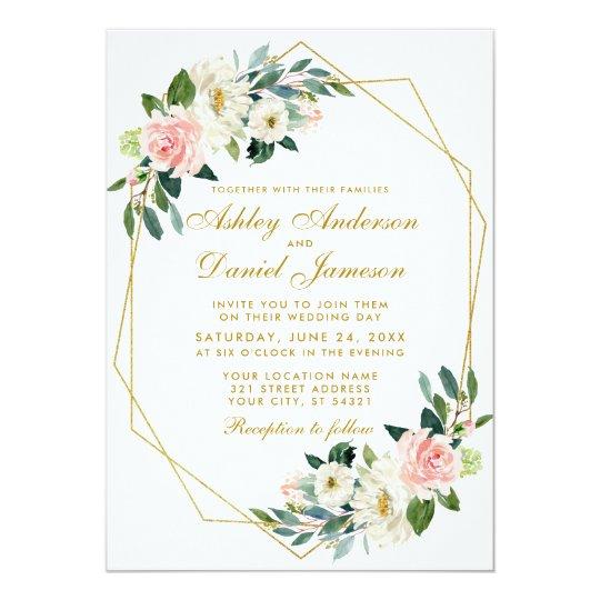 Modern Floral Pink Gold Geometric Frame Wedding Invitation