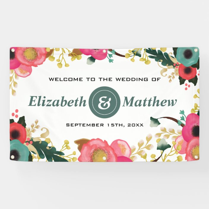 Modern Floral Pink Teal Large Wedding Banner Zazzle Com