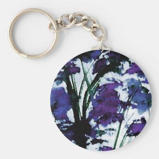Modern Floral Purple Flowers in the Garden Breezes Keychain