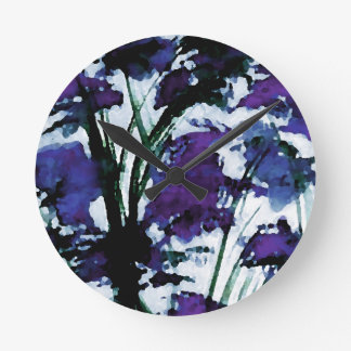 Modern Floral Purple Flowers in the Garden Breezes Round Clock