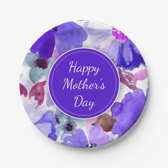Modern Floral Purple Mother's Day Paper Plates