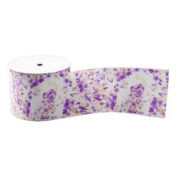 Modern floral purple peach watercolor peacock grosgrain ribbon