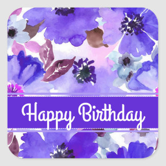 Modern Floral Purple Watercolor Birthday Stickers