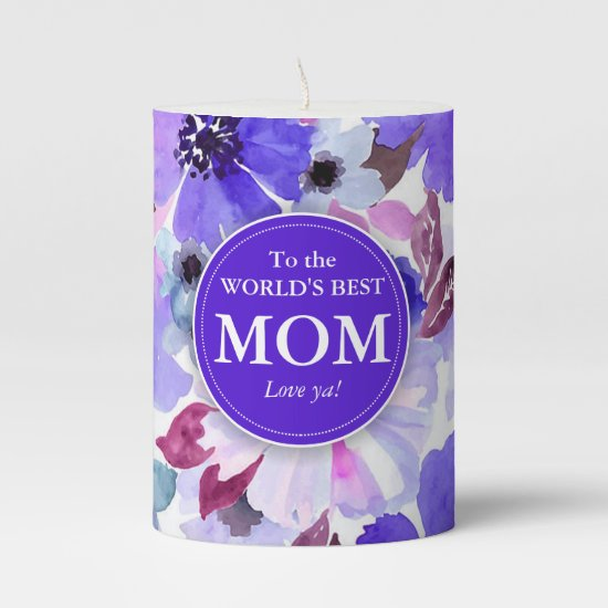 Modern Floral Purple Watercolor Candle