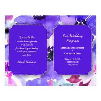 Modern Floral Purple Watercolor Wedding Program
