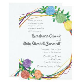 Modern Floral Rainbow Geometric Wedding Invitation