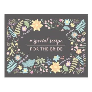 Modern Floral Recipe Cards for Bridal Shower