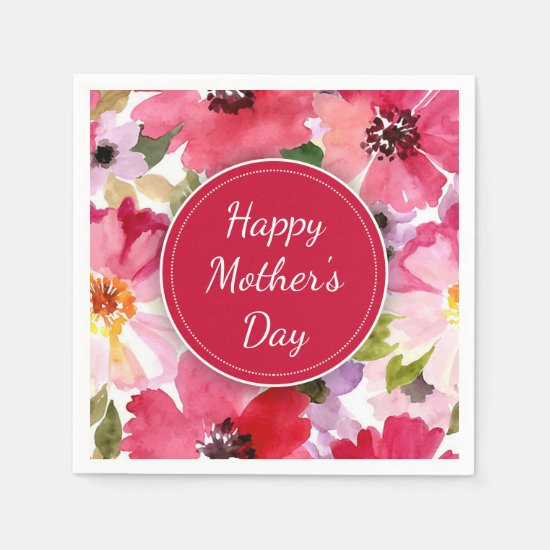 Modern Floral Red Mother's Day Paper Napkins