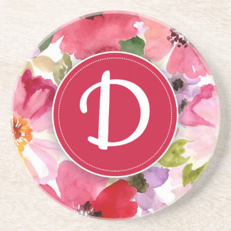 Modern Floral Red Watercolor Coaster
