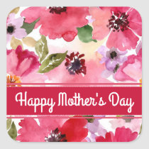 Modern Floral Red Watercolor Mother's Day Square Sticker
